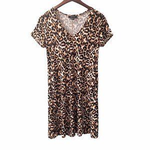 Karen Kane Leopard Print V-Neck Dress Size Small